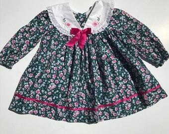 Vintage Floral Baby Girl Dress, Vintage Spring Dress,24 months, FREE SHIPPING