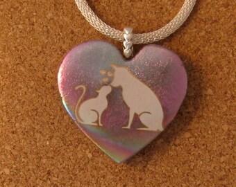 Dichroic Cat and Dog Pendant - Dichroic Heart Pendant - Fused Glass Pendant - Fused Glass Jewelry - Dichroic Jewelry - Cat Pendants