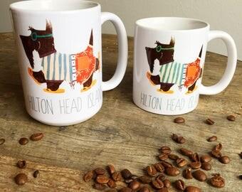 Scottie dog scottish terrier beach dog hilton head island  graphic art MUG 15 oz  OR 11 oz ceramic coffee mug
