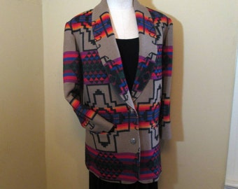 Vintage Pendleton jacket Indian designs Southwest desert Pendleton Knockabouts wool blazer Indian blanket wool tribal print jacket M