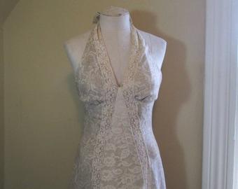 Cream Lace Vintage Halter Dress 70s Beige floral print Summer Dress 70s Maxi Open back Halter party dress Camel paisley cream voile dress S