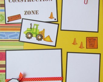 CONSTRUCTION ZONE 12x12 Premade Scrapbook Pages -- LiTTLe BoYs & TheiR ToYs