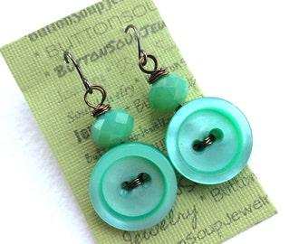 Mermaid Aqua Turquoise Blue with Sea Green Button Earrings