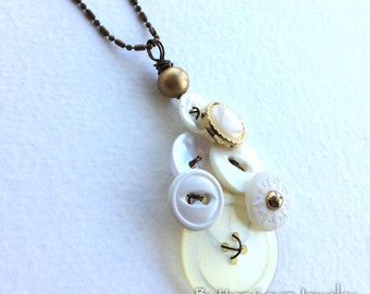 Heritage Ivory Button and Bead Pendant Style Necklace