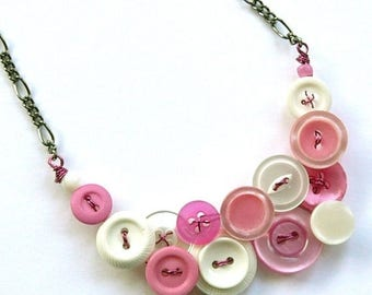 Summer Sale Necklace in Pink and White Vintage Button Jewelry