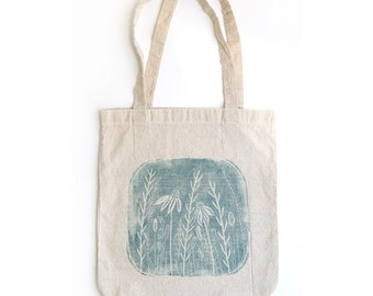 Handprinted Recycled Linen Cotton Blend Tote Bag - Holiday Gift - Christmas - Botanical - Floral - Prairie - Blue