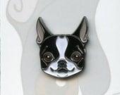 Boston terrier soft enamel pin, lapel pin, dog art
