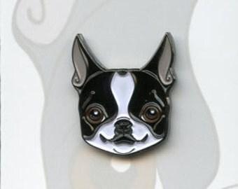 Boston terrier soft enamel pin, lapel pin, dog art