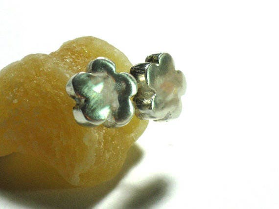 Small Silver Flower Studs, Sterling Earring Posts