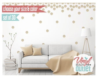 Polka Dot Circle Vinyl Wall Decals - Set of 30 - Choose your size & color!