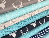 Woodland Blanket Fabric Bundle, Woodland Baby Quilt fabric, Rustic Home Decor, Deer Bedding, Woodland  fabric, Bundle of 9, Choose the Cuts