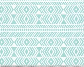 Geometric fabric, Tribal Fabric, Wander fabric, Rustic Home Decor, Feather fabric, Southwestern Decor, Tribe in Aqua- Choose the cut