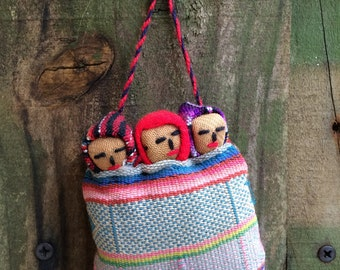 FROM PERU...native handmade ornament with vintage fabrics-3 babies in bed-travel souvenir-Macchu Picchu