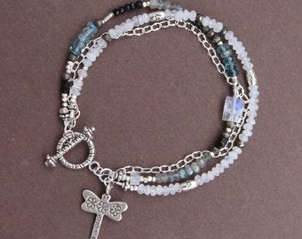 Moonstone Aquamarine Black Spinel Labradorite Thai Silver Bead Chain Gem Mix Triple Strand Bracelet Sundance Style