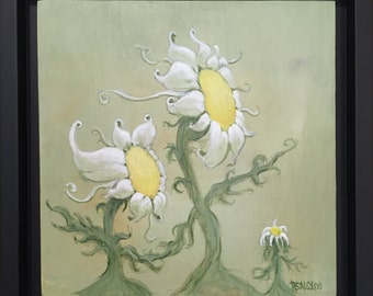 6x6 Original Painting Acrylic Ethereal Fantasy Surreal Family of Sunflowers by RSalcedo FFAW Free Shipping