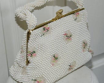 Vintage 1960's Corde Lumered Beaded Handbag