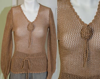 Vintage 1930's Woman's Hand Crochet Sweater