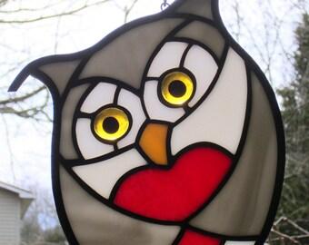 Stained Glass Love Heart Owl Gray Owl with Golden Eyes Suncatcher