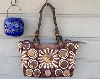 "FREE SHIPPING-Vintage ""Cappelli"" Straworld Straw & Coconut Shell Shoulder Bag/Purse-Bohemian-Tropical Purse-Brown and Cream-Hippie-Gypsy"
