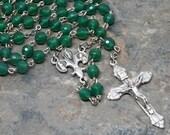 Green Onyx Gemstone Rosary; 5 Decade Rosary; Green Rosary; Catholic Rosary; Catholic Prayer Beads