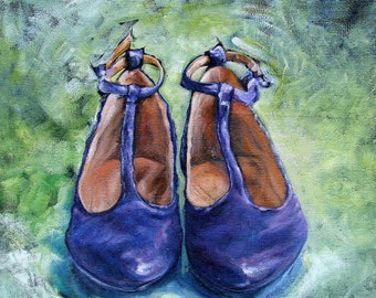 "Original Oil painting on fine jute ""MARYJANE"" 24"" by 24"" Vintage shoes part of the SHOE Series! FREE shipping!"