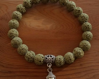 Khaki Olive Lava Stone Bhudda Bracelet handmade (HGB10830)- Wrist size up to 7 1/4 inches- Ship from Canada