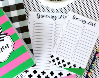 CLASSIC OR MINI Grocery List Planner Insert, Happy Planner Accessory, wet erase insert, Happy Planner Dashboard