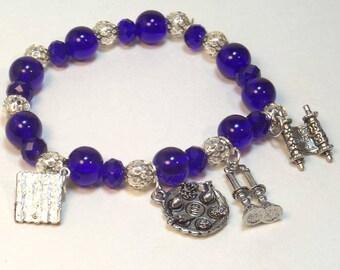Passover 4 Charm Bracelet - Big Blue - Passover Bracelet
