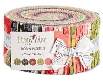 "Moda POPPY MAE Jelly Roll 2.5"" Precut Fabric Quilting Cotton Strips 48600JR"
