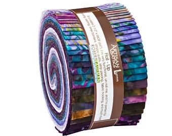 "SALE 20% Off Robert Kaufman Enchanted Batiks Wineberry Roll Up 2.5"" Precut Fabric Quilting Strips Jelly Roll RU-611-40"