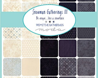 "SQ69 Moda Snowman Gatherings III Precut 5"" Charm Pack Fabric Quilting Cotton Squares 1210PP"