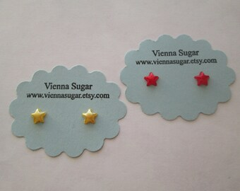 6 mm Red or Yellow Star Magnetic Clip On or Hypoallergenic Plastic Post Stud Earrings