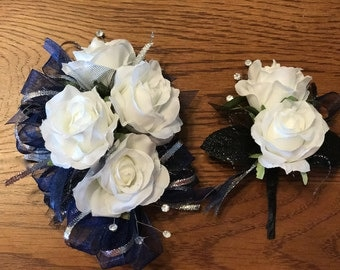 Navy Blue Silver White Rose Corsage Set (Artificial Flowers)