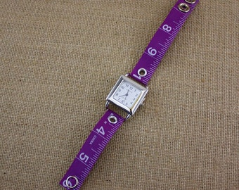 LIMITED TIME ONLY! TTape Measure Watch in Bright Purple - Square Face - Statement Jewelry created with Upcycled Measuring Tape