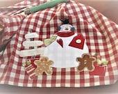 Applique Christmas Tea Kitchen Dish Towel Holiday Country Decor Primitive Festive Snowman Gingerbread Men Cotton Large Red White Gingham