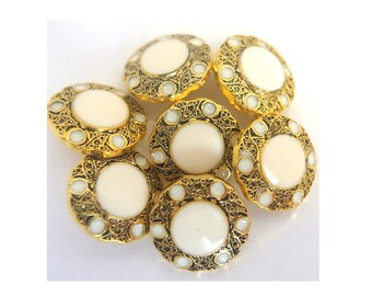 6 Vintage flower buttons gold color plastic with white pearl 15mm