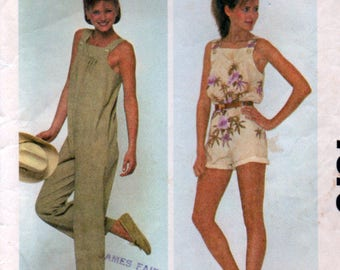 1981 Small Petite Size Easy Jumpsuit Long or Short Sewing Pattern Ladies McCalls 7573