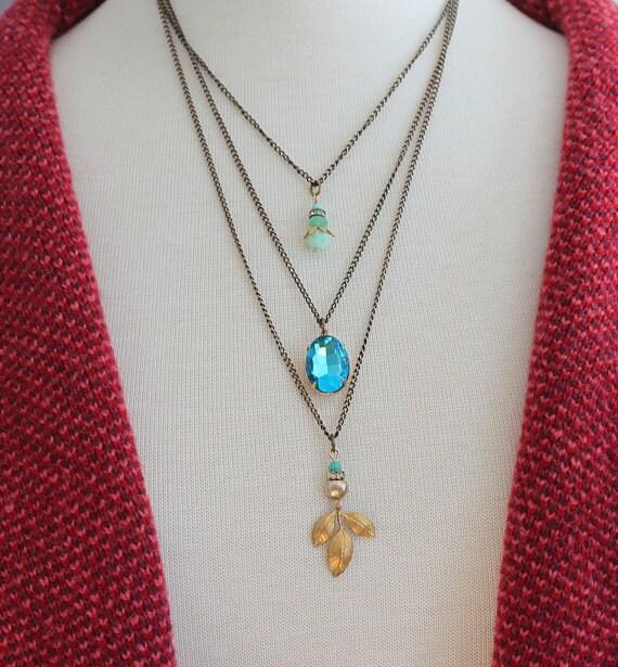 Boho Layered necklace Bohemian Layered Charm Necklace Bohemian Necklace Boho Jewelry
