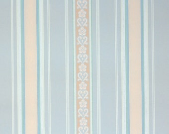 1940s Vintage Wallpaper by the Yard - Blue and Pink Stripe