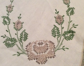 """Linen Tablecloth Cross Stitch Floral Design Purple Green with Ecru Accents & Edging 56"""" X 62"""" Good Condition TB26"""
