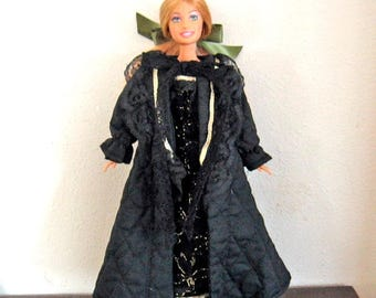 ON SALE Barbie Clothes Black and Gold Robe and Gown Set