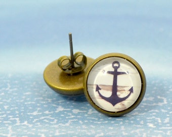 Blue Anchor Bronze Studs - Round Glass Dome Blue Anchor Earrings