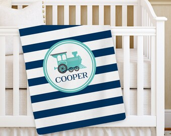 Personalized Baby Blanket, Boy Baby blanket, Train Receiving Blanket, Baby Crib Blanket, Swaddling Blanket, Custom Baby Shower Gift