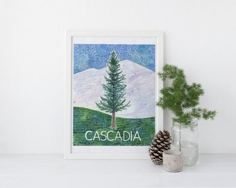 Cascadia Art Print / Oregon Art Print / Washington Art Print / Watercolor Art Print / Art Print / Watercolor Gifts / Pacific Northwest Art