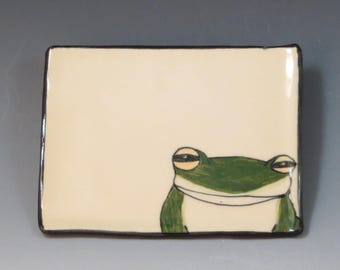 Handbuilt Ceramic Soap Dish with Frog