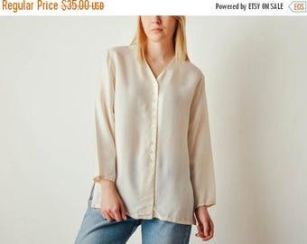 ON SALE Vintage Off-white Silk Button Down Blouse