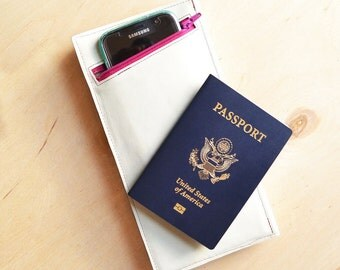 Leather Travel Wallet, Travel Gift Women, Passport Holder, Boarding Pass Wallet, Graduate Gift - The Stella Travel Wallet in Cream