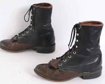 size 7 JUSTIN style black and brown leather 70s 80s FRINGE ROPER lace up ankle work boots