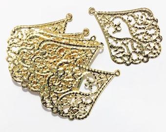 Bulk 100 pcs of Gold tone filigree teardrop 53x39mm, gold filigree earring drop