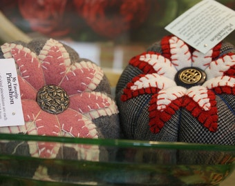 Handmade -- Large Wool Pincushion -- Made from Vintage Upcycled Wool and Crushed Walnut Shell Stuffing
